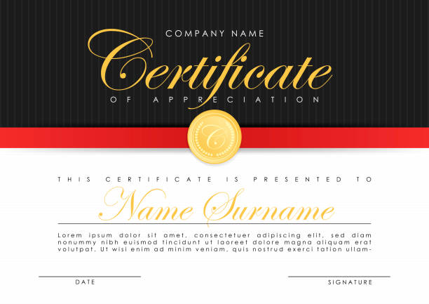 Certificate template in elegant dark blue colors with golden medal. Certificate of appreciation, award diploma design template. Certificate template in elegant dark blue colors with golden medal. Certificate of appreciation, award diploma design template. Vector banking borders stock illustrations