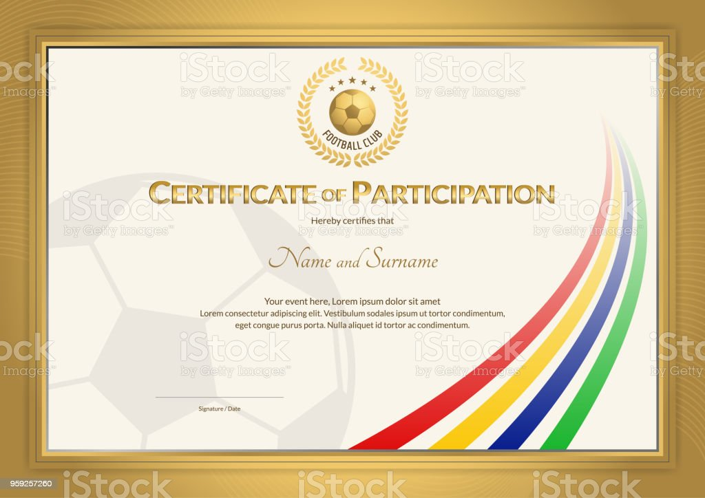 Certificate Template In Football Sport Color Stripe Theme With Gold