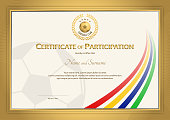 Certificate template in football sport color stripe theme with gold border frame, Diploma design
