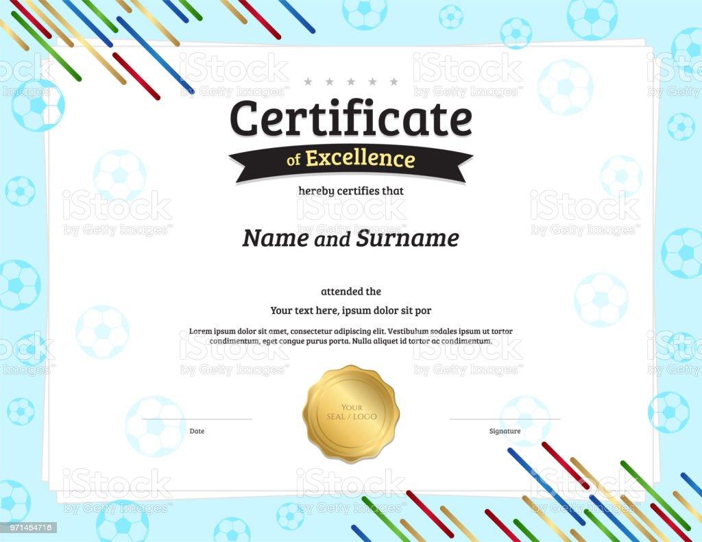 Zertifikatvorlage Im Fußballsportthema Mit Rahmen Diplom Design ...