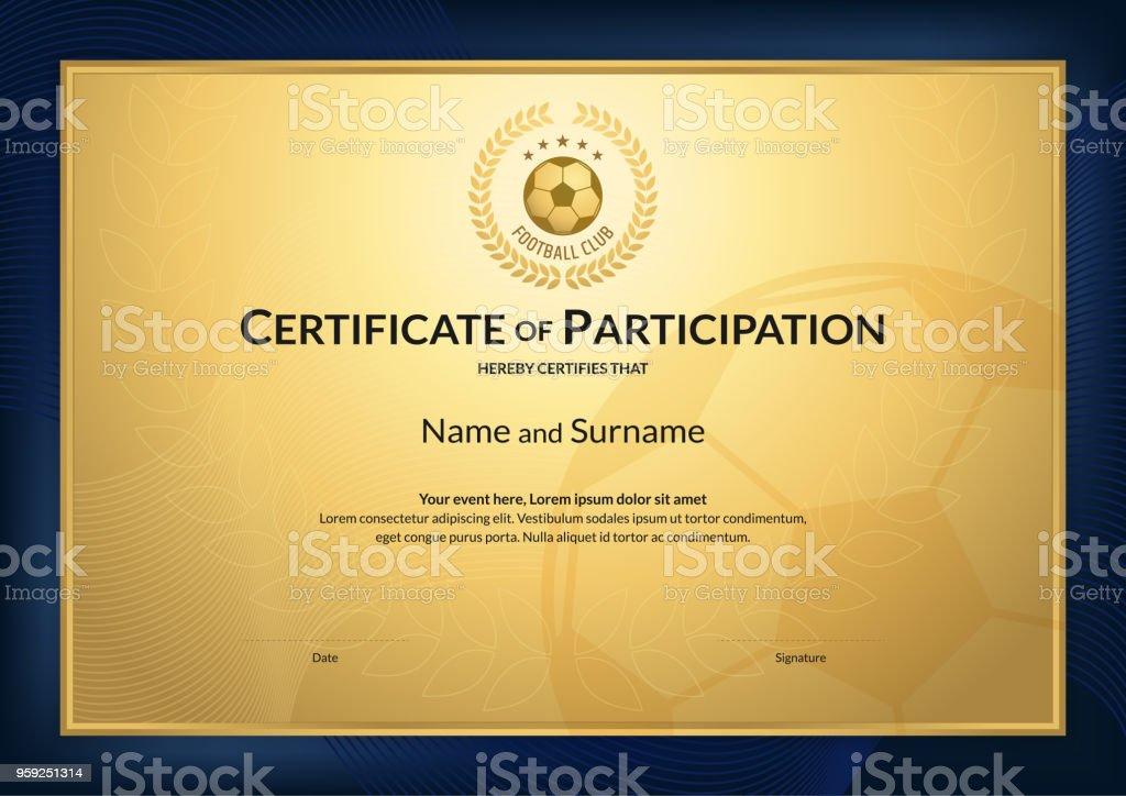 Zertifikatvorlage Im Fußballsportthema Mit Goldgrund Und Blauen ...