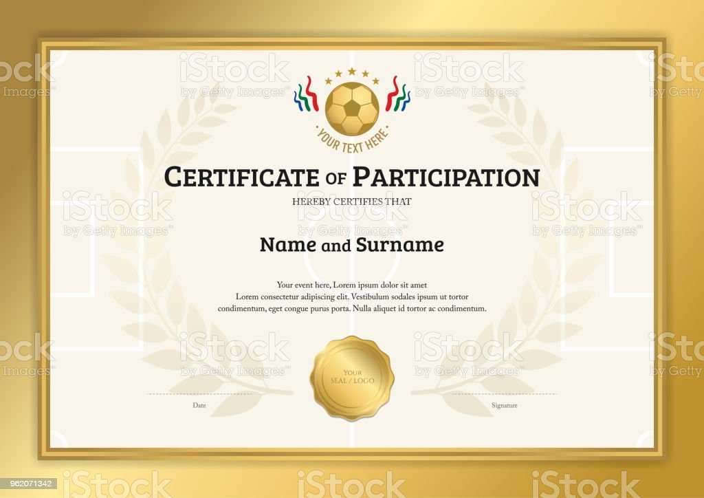 Certificate Template In Football Sport Theme With Gold Border Frame