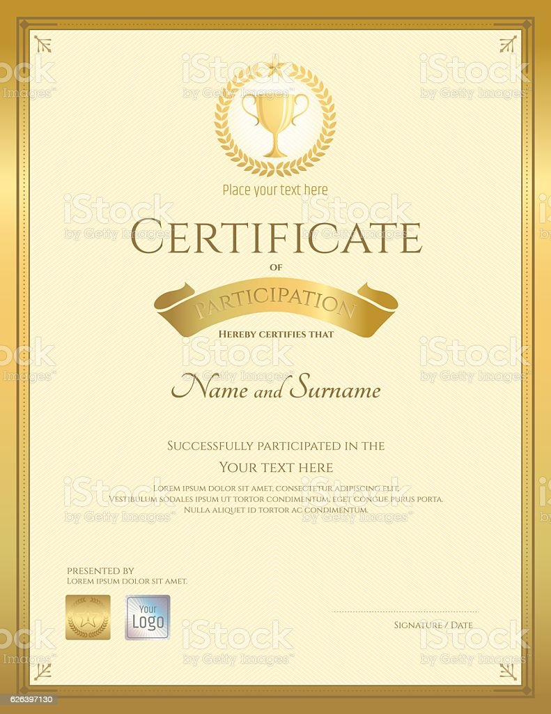 Royalty free certificate of completion template in portrait clip certificate template in portrait for achievement graduation completion vector art illustration xflitez Gallery