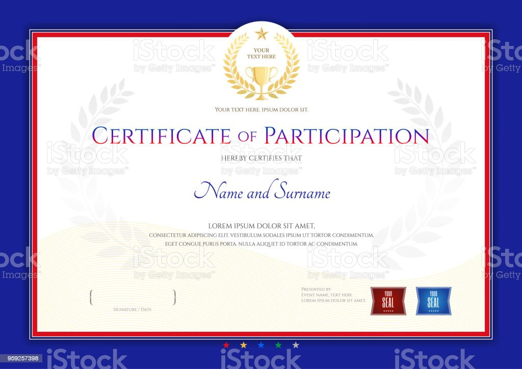 Zertifikatvorlage Im Sportthema Mit Rahmen Diplom Design Stock ...