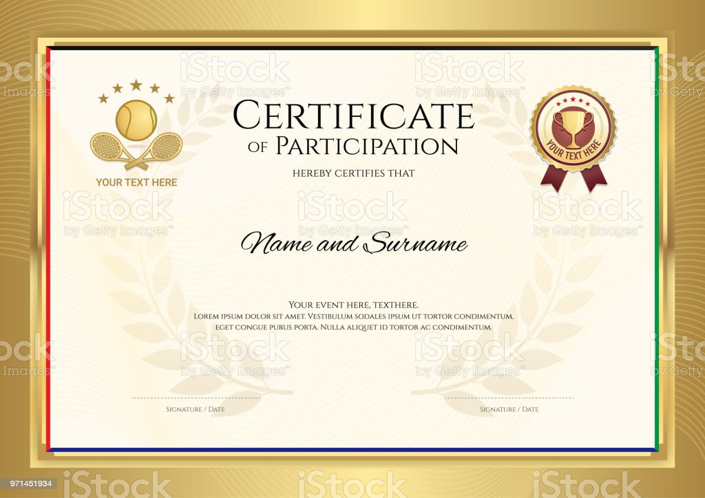 Certificate Template In Tennis Sport Theme With Gold Border Frame