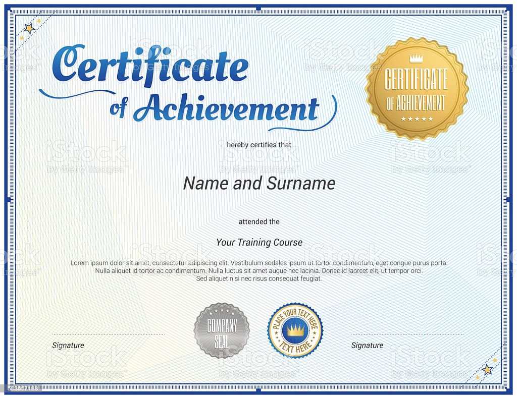 Certificate Template In Vector For Achievement Graduation Comple ...