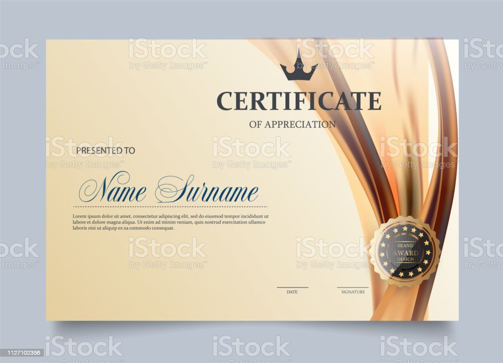 Certificate template in vector for achievement graduation completion - stock vector vector art illustration