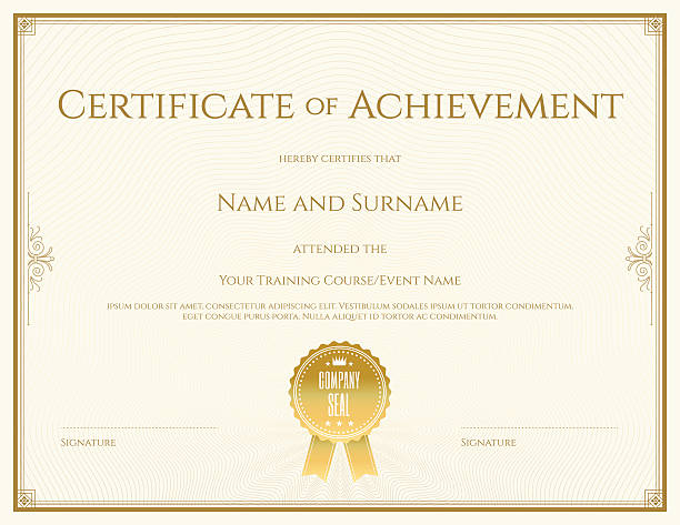Certificate template in vector for achievement graduation completion vector art illustration