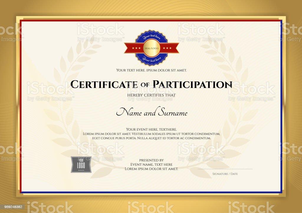 Zertifikatvorlage Inl Sport Thema Mit Goldenen Rahmen Diplom Design ...