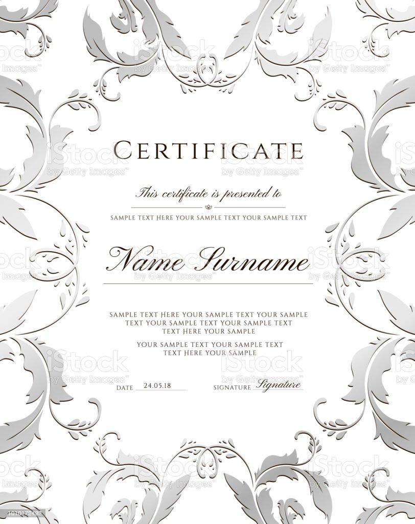 Certificate Template Silver Border Editable Design For Diploma