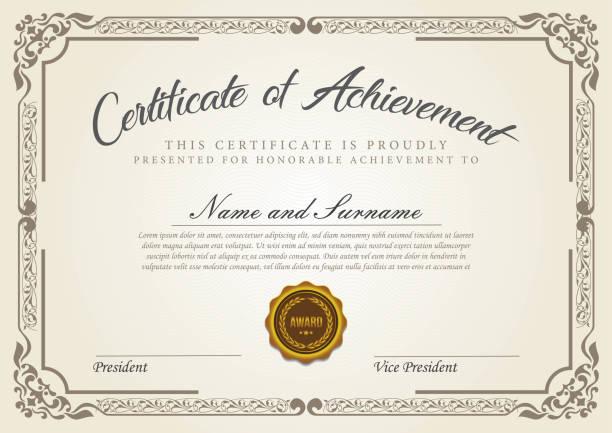 bildbanksillustrationer, clip art samt tecknat material och ikoner med certifikatmall - diploma