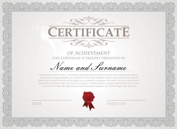 stockillustraties, clipart, cartoons en iconen met certificaatsjabloon - certificaat