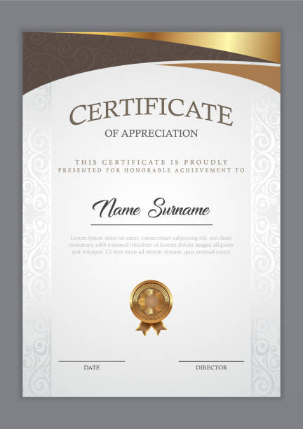 Certificate template Certificate template with gold element, diploma, vector illustration certificates and diplomas stock illustrations