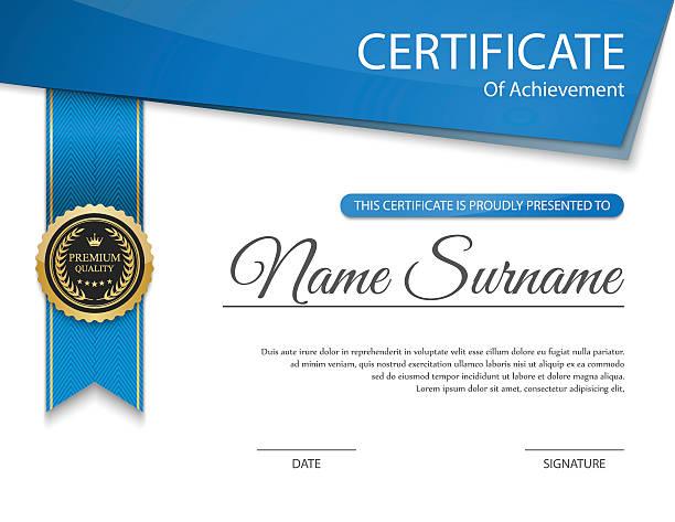 ilustraciones, imágenes clip art, dibujos animados e iconos de stock de vector de plantilla de certificado - marcos de certificados y premios