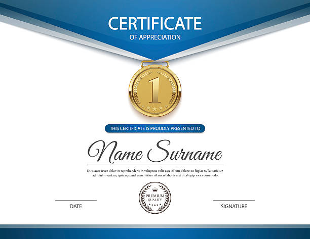 certificate template, vector - certificate and awards frames stock illustrations, clip art, cartoons, & icons