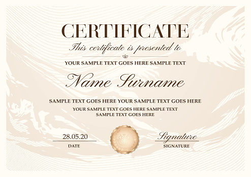 Certificate template with abstract liquid background (marble)