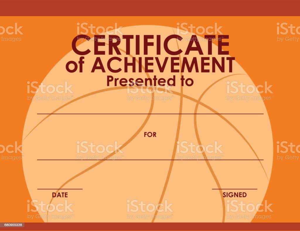 Zertifikatvorlage Mit Basketballhintergrund Stock Vektor Art und ...