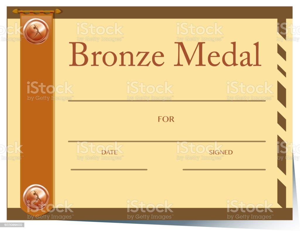 Certificate Template With Bronze Medal Stock Vector Art More