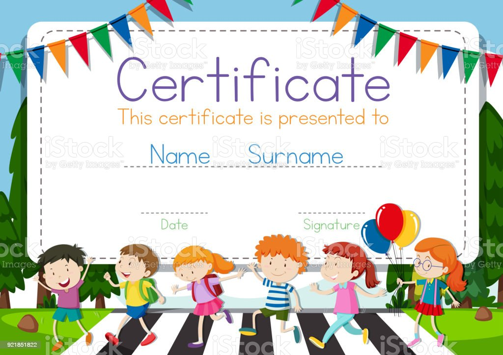 Certificate Template With Children Crossing Road Background Stock
