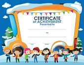 Certificate template with children in winter