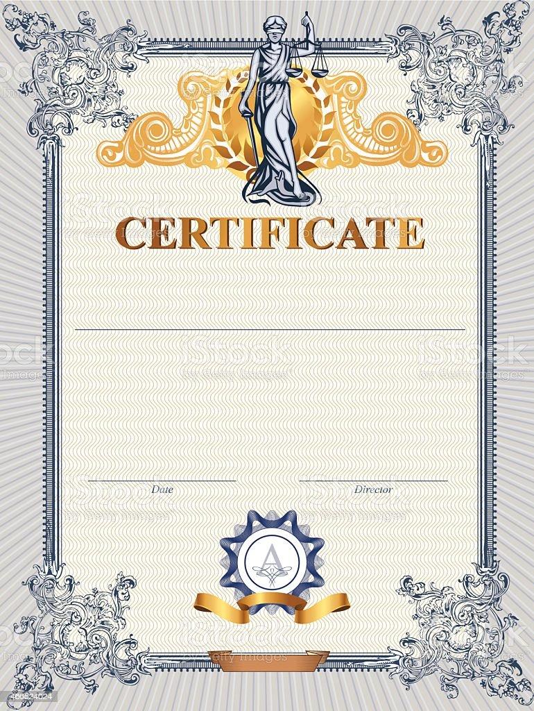 Zertifikat Vorlage Mit Femida Stock Vektor Art und mehr Bilder von ...