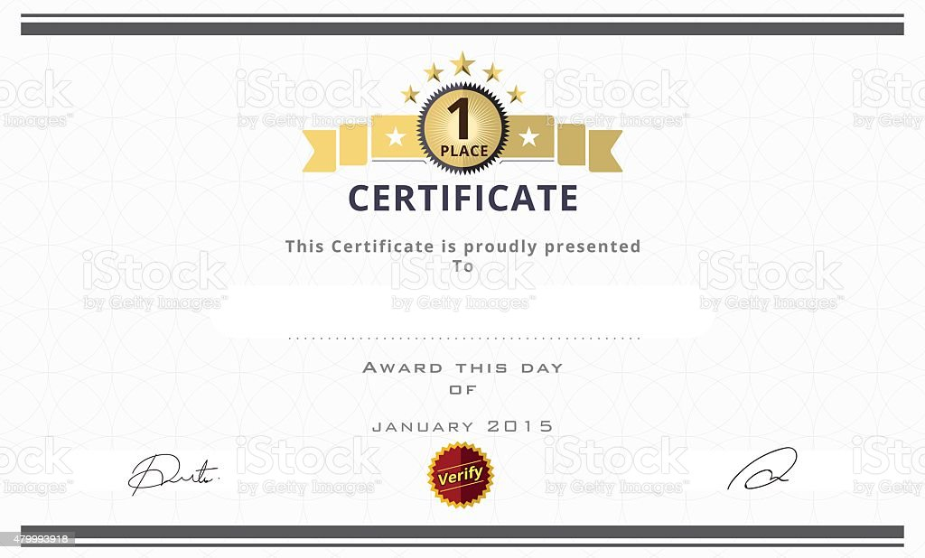 Certificate Template With First Place Concept. Certificate Borde  Royalty Free Certificate Template With First  First Place Award Template