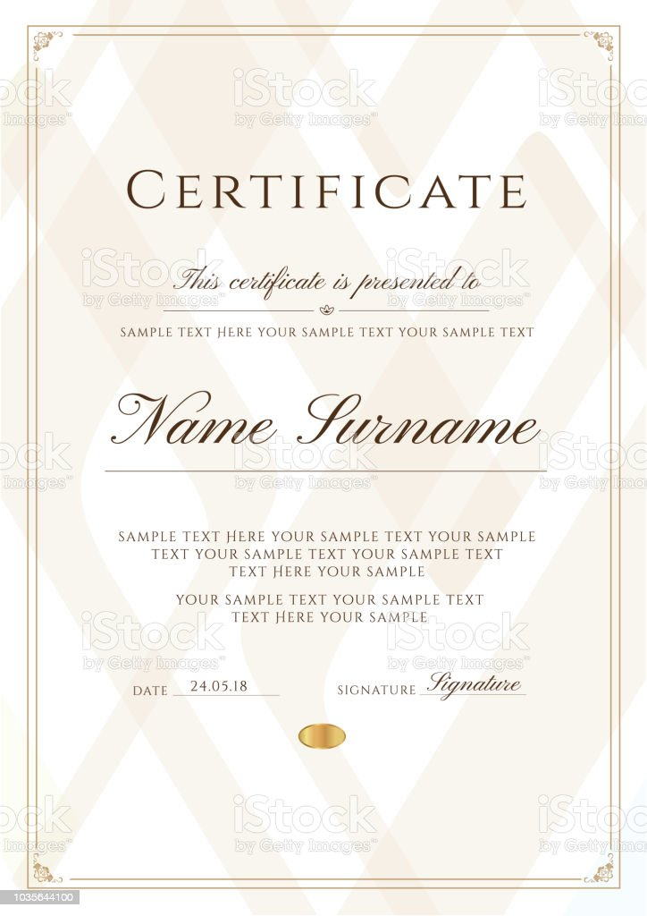 Certificate Template With Frame Border And Pattern Design For