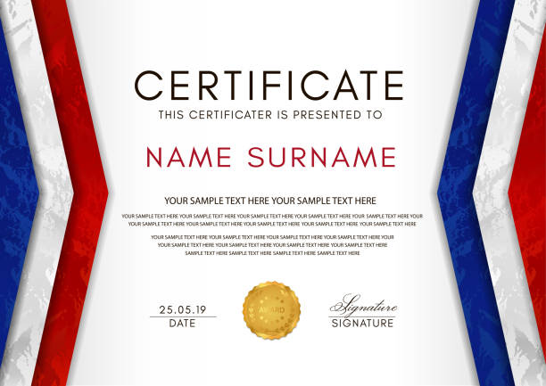 certificate template with france flag (blue, white, red colors) frame and gold badge - high school sports stock illustrations