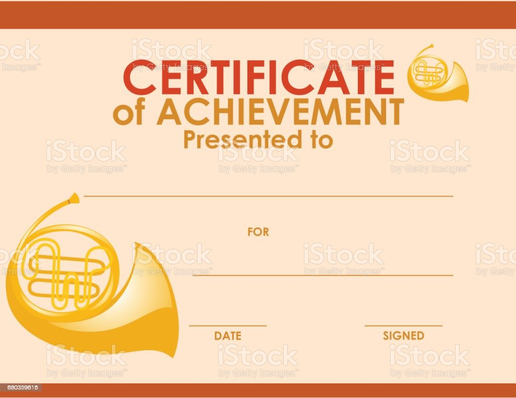Certificate template with french horn stock vector art 680359616 certificate template with french horn royalty free stock vector art alramifo Image collections