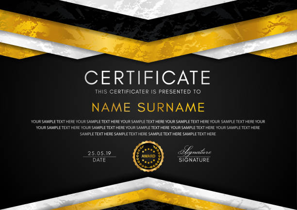 certificate template with geometry frame and gold badge. black background design for diploma - high school sports stock illustrations