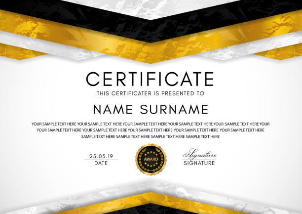 illustrations, cliparts, dessins animés et icônes de modèle de certificat avec trame de géométrie et d'un insigne or. fond noir - sports lycée