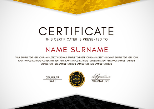 Certificate template with geometry gold and black frame and badge on white background