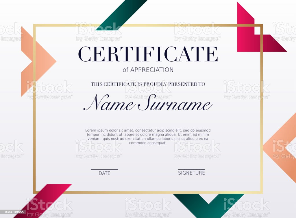 Certificate Template With Golden Decoration Element Design Diploma