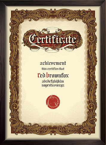 Certificate template with gothic font