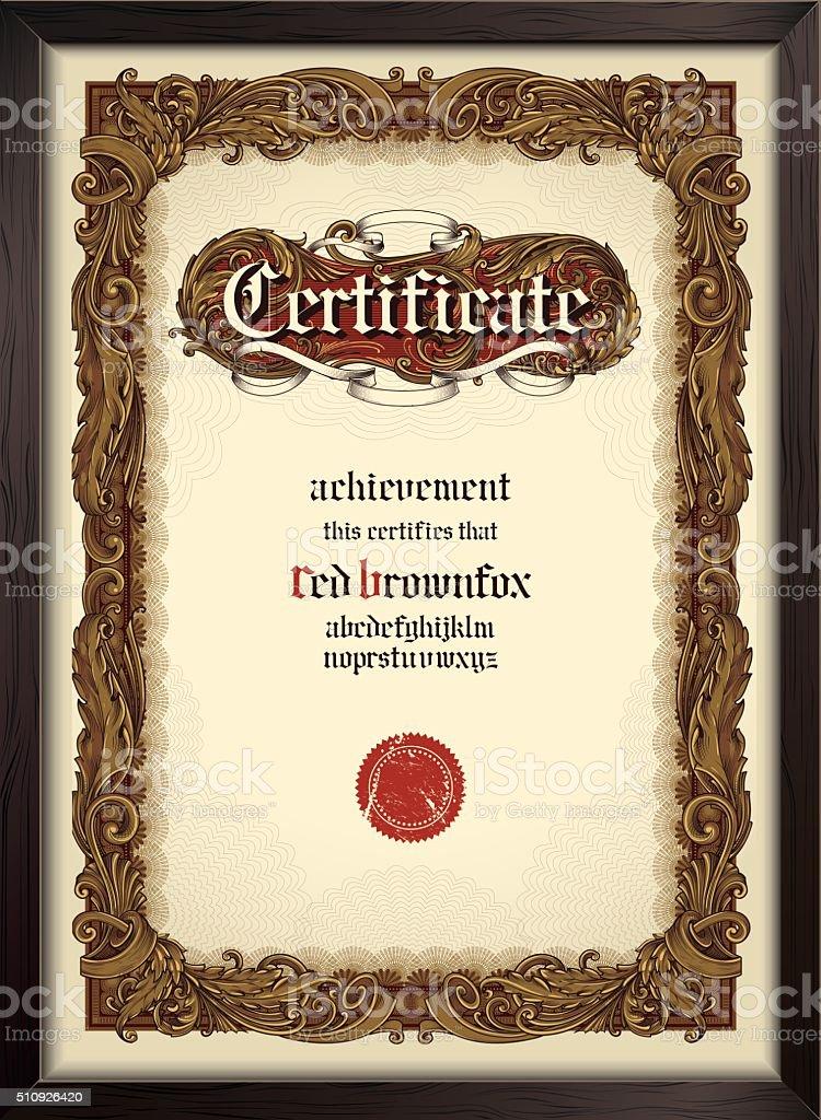 Certificado plantilla de letra con gótico - ilustración de arte vectorial