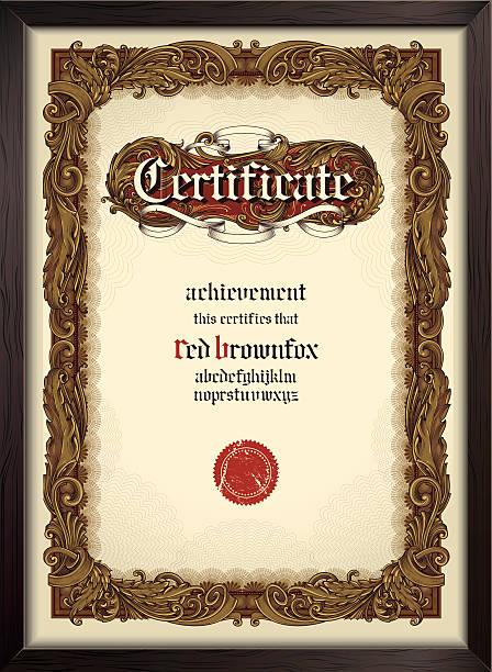 ilustraciones, imágenes clip art, dibujos animados e iconos de stock de certificado plantilla de letra con gótico - marcos de certificados y premios