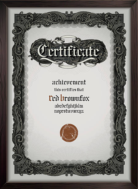 Certificate template with gothic font Vector certificate template eps9 (gothic font included) gothic style stock illustrations