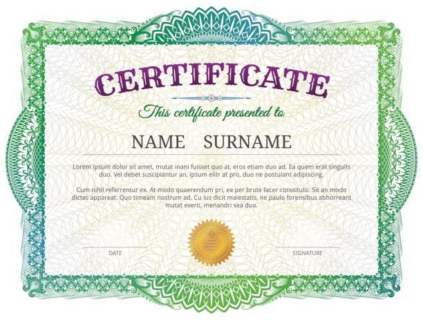 ilustrações, clipart, desenhos animados e ícones de modelo de certificado com elementos guilhoché - molduras de certificados e premiações