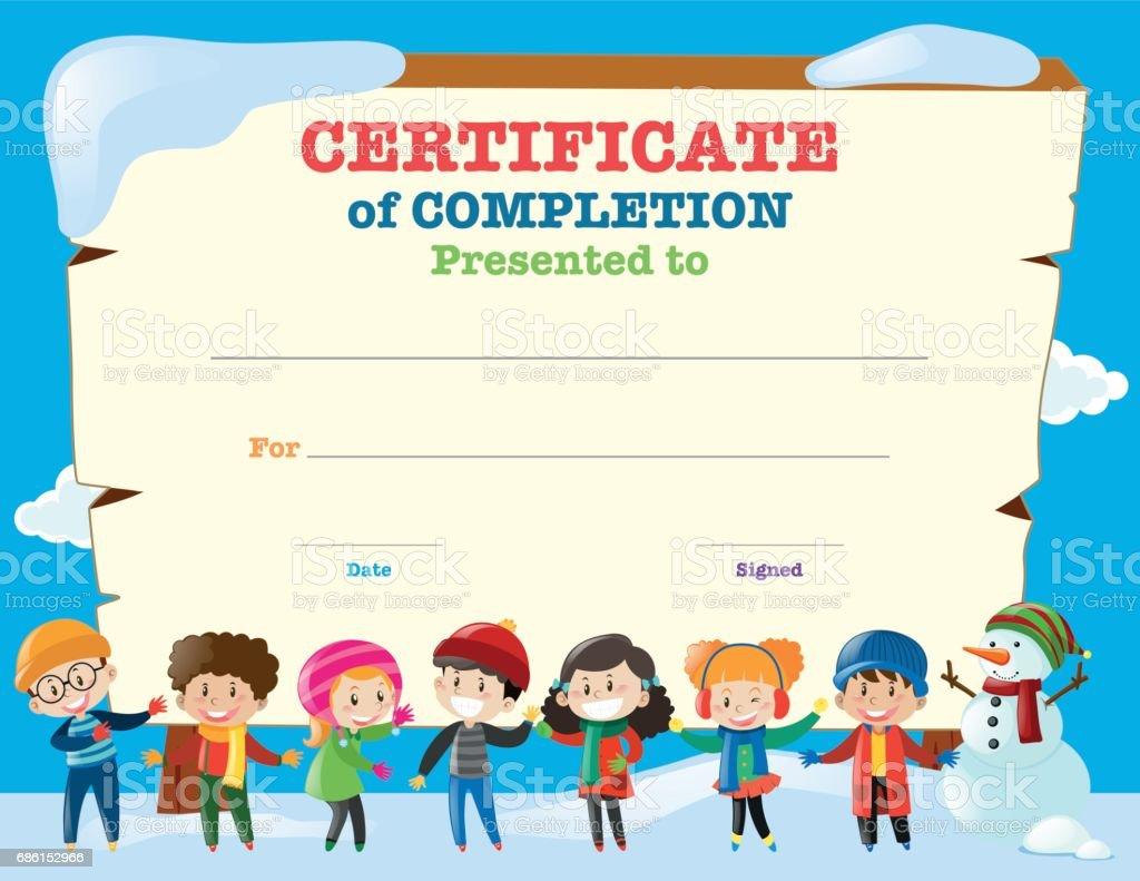 Certificate Template With Happy Children In Winter Stock Vector Art