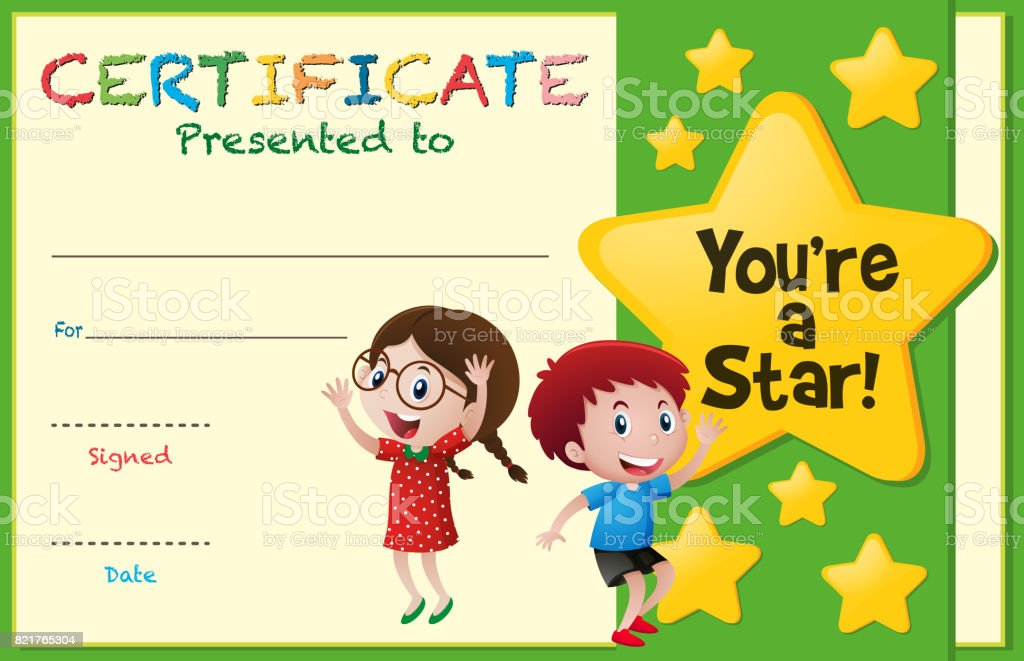 Certificate Template With Kids And Stars Stock Vector Art More