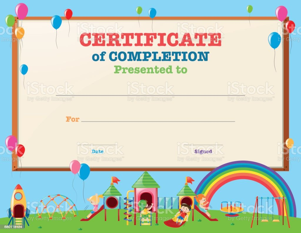 Certificate Template With Kids In Playground Stock Vector Art More