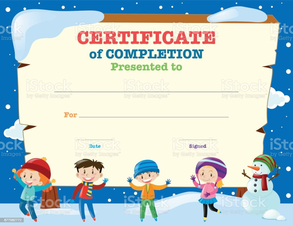 certificate template with kids in the snow stock vector art more