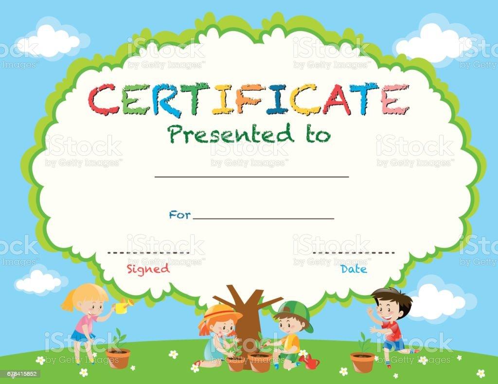 Zertifikatvorlage Mit Kindern Die Anpflanzung Von Bäumen Stock ...