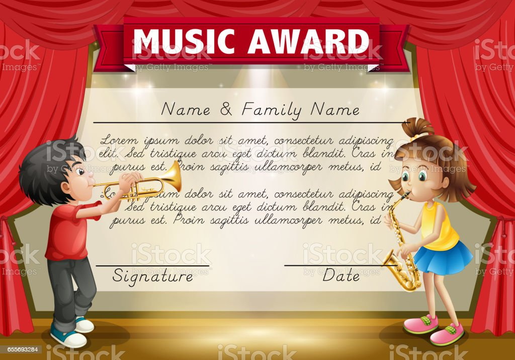 Certificate Template With Kids Playing Music On Stage Stock Vector