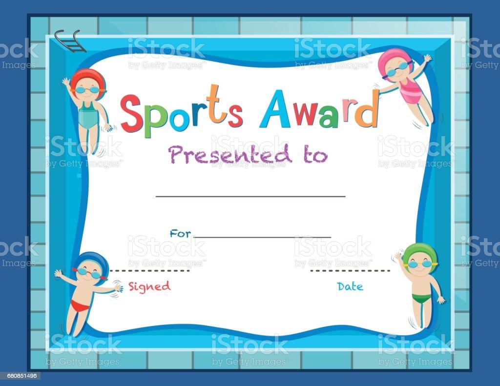 Zertifikatvorlage Mit Kindern Schwimmen Stock Vektor Art und mehr ...
