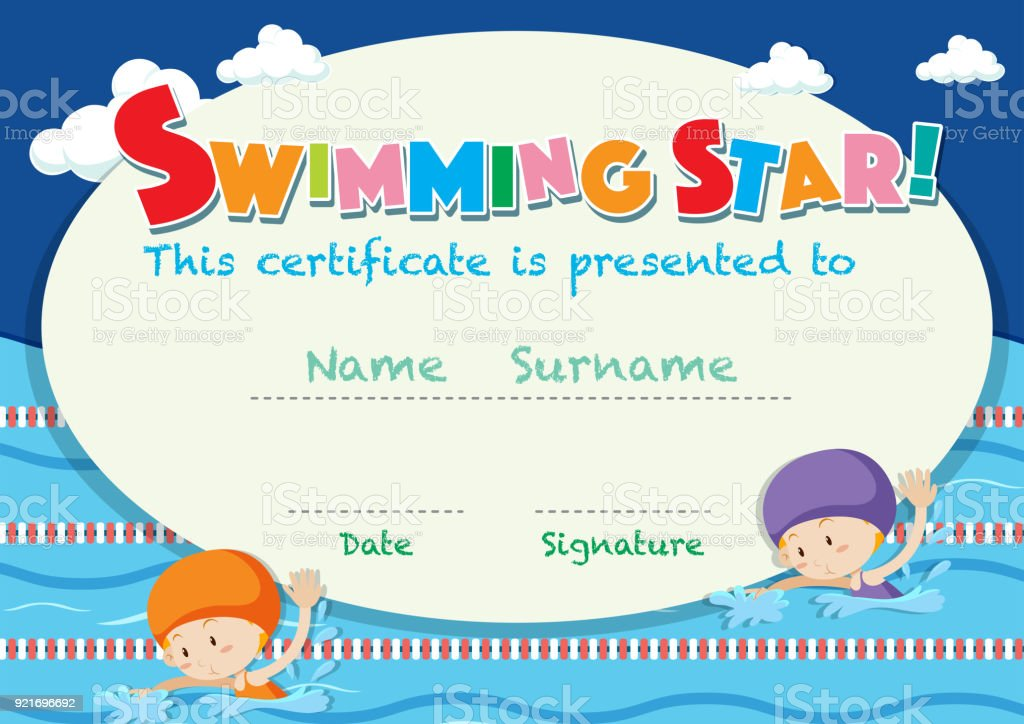 Certificate Template With Kids Swimming Stock Vector Art More