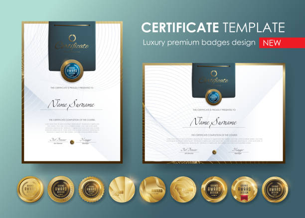 illustrazioni stock, clip art, cartoni animati e icone di tendenza di certificate template with  luxury pattern,diploma,vector illustration and vector luxury premium badges design,set of retro vintage badges and labels. - attestato