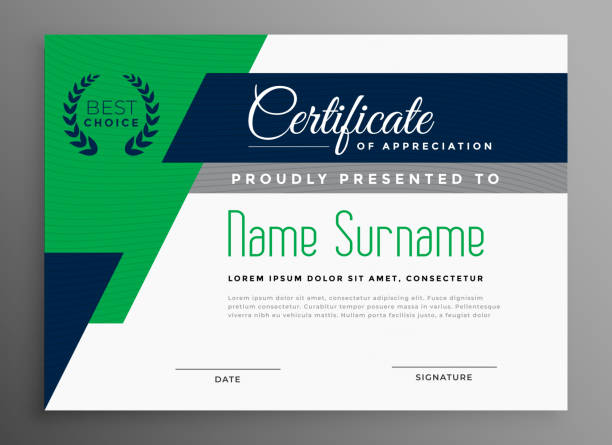 illustrazioni stock, clip art, cartoni animati e icone di tendenza di certificate template with modern geometric shapes - attestato