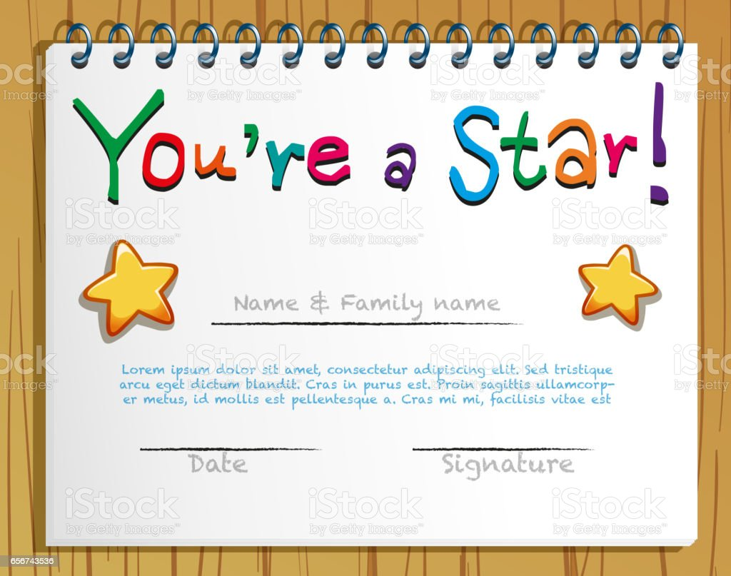 Certificate Template With Stars Stock Vector Art U0026 More Images Of Art  656743536 | IStock  Name A Star Certificate Template