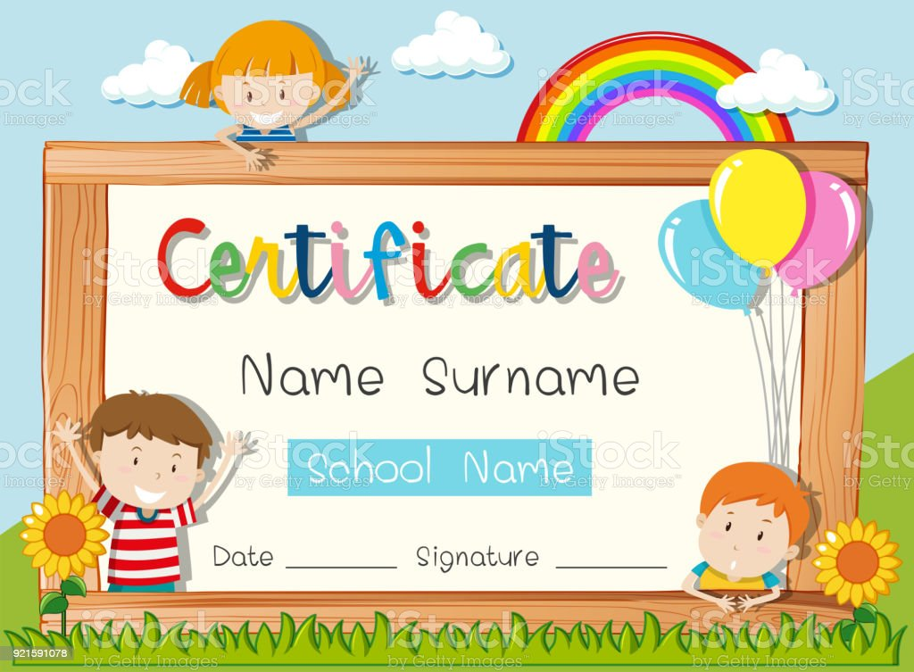 Certificate Template With Three Kids In Park Stock Vector Art More